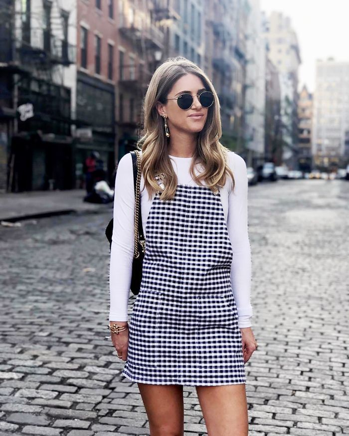 bfedf6d866 Checkered overall dress  fall fashion  fall outfit inspiration  back to  school style  fall summer transition  fashion  style