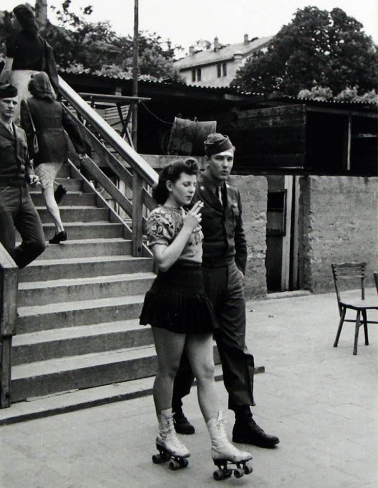 A Young Woman On Roller Skates And Her Soldier Honey, 1940s