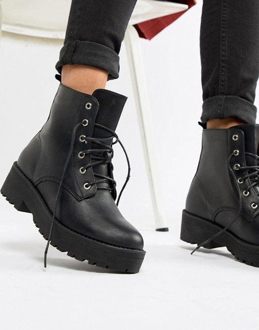 6cd3a66c8d1 Truffle Collection Chunky Lace Up Flat Ankle Boots | Shoes | Boots ...