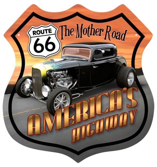Retro Route 66 Hotrod Shield Tin Sign, $29.98 (http://www.jackandfriends.com/vintage-route-66-hotrod-shield-metal-sign/)