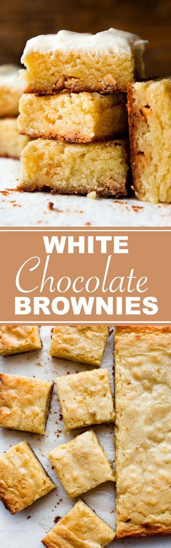 How to make 1 bowl white chocolate brownies on sallysbakingaddiction.com Better than blondies!