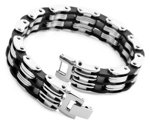 Justeel Jewelry Stainless Steel Bangle Link Bracelet Cuff Chain Men Silver Black Rubber Justeel Jewelry. $7.99. Shipping takes 2-3 weeks from China (USPS Tracking). Excellent Luster and Unimpeachable Rust and Corruption Resistance. Size HxWxL: x0.3x9.8inch; (x8x250mm). 100% Nickel free. Save 75%!