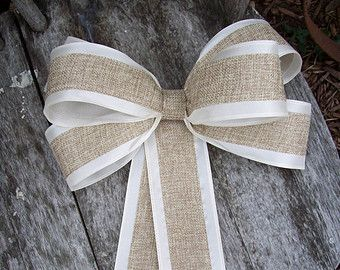 Burlap Pew Bows, Burlap Wedding, Aisle Decor, Rustic Wedding, Cottage Chic, Pew Bows, Wreath Bows