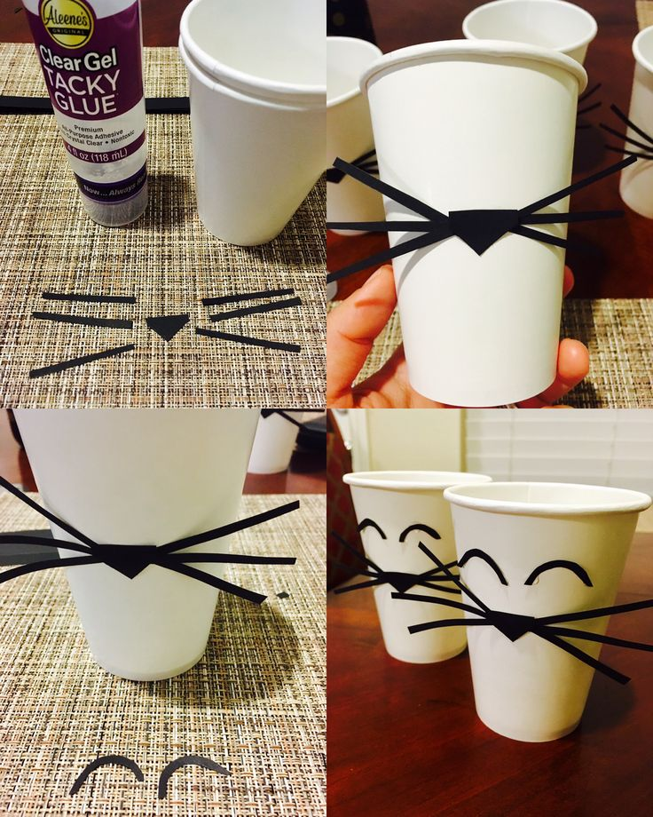 Paper cup cat DIY and like OMG! get some yourself some pawtastic adorable cat shirts, cat socks, and other cat apparel by tapping the pin!