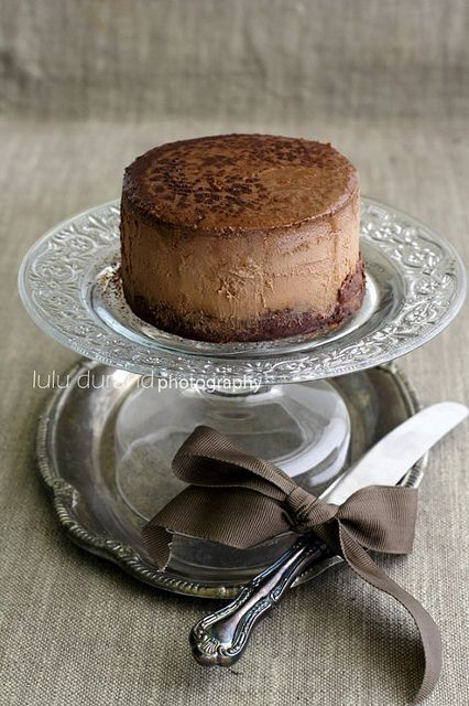 this is for chocolate cheesecake, but I am repinning it because I like the idea of giving everyone their own cake plate with a mini cake.  Could make from thrift store glasses and plates.