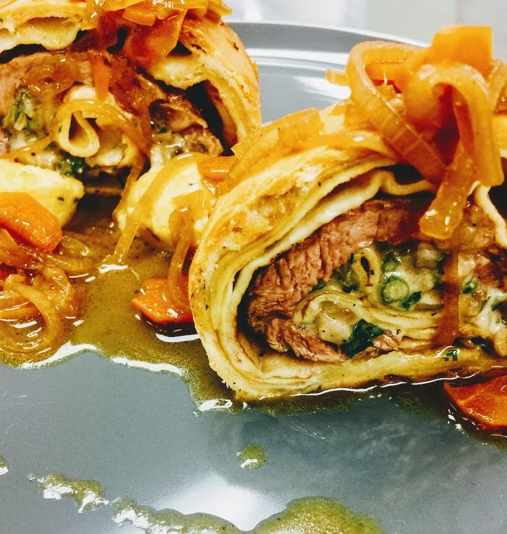 Beef Wellington is a preparation of filet steak coated with foie gras and duxelles, which is then wrapped in puff pastry or crêpe (the crepe retain the moisture and prevent it from making the pastry soggy) then it's baked. Chef Vincent Catala used the crepe to wrap the beef.