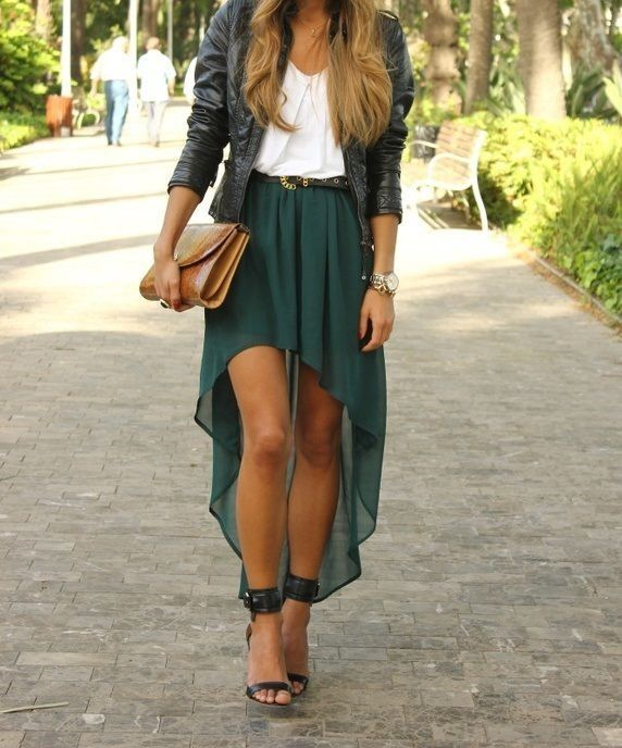 Party outfit (high low skirt, chiffon top, leather jacket, and heels