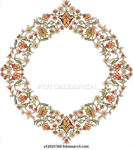 Clip Art of Red, green, yellow and orange floral pattern Arabesque frame u12021366 - Search Clipart, Illustration Posters, Drawings, and EPS Vector Graphics Images - u12021366.eps