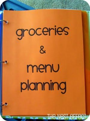 The Nest Effect: Home Management Binder: Grocery & Menu Planning and Health & Fitness Categories