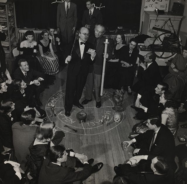 "Bernard Hoffman, ""Kurt Seligmann and Enrico Donati in a 'Magic Circle'"" (1948), photograph"