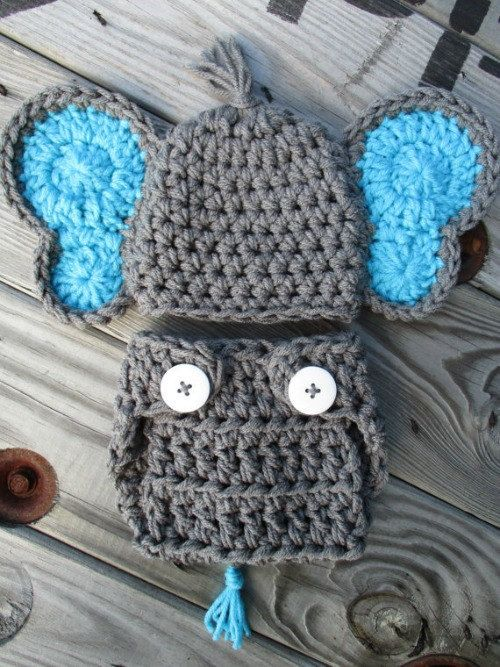 Crochet Baby Elephant Crochet Baby Outfit Knit Elephant Hat Newborn Elephant Costume Knitted Outfit Newborn Photo Prop Baby Boy Crochet Set