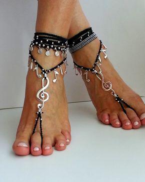Sandalias Descalzas música, Boho envuelto Tobilleras de tobillo, joyería, Hippie, música Observe, sandalias, Crochet, danza gitana, boda de playa