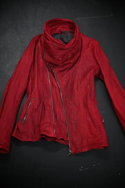 Red moto cowl neck jacket. Love the RED!