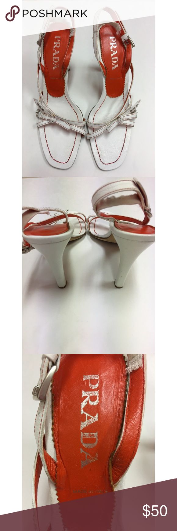 """Prada Heals AUTHENTIC SIZE 11 These gorgeous strapy Prada Heels are elegant and would complete a formal or work look beautifully!    •Size 41 (11 in US sizes)  •Has obvious signs of wear. Please see photos  •Heel measures 4"""" Prada Shoes Heels"""
