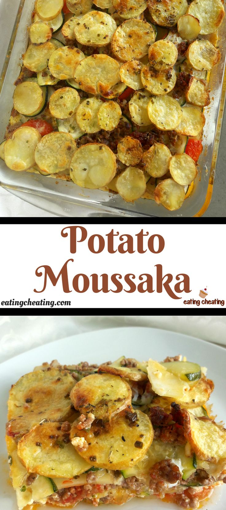 For this post I prepared easy and delicious moussaka recipe. This potato moussaka is a great recipe for this cold weather. For this potato mousakka I used beautiful potatoes, some fresh tomatoes and zucchini and a ground beef. Everything was poured with mixture of eggs and heavy cream.