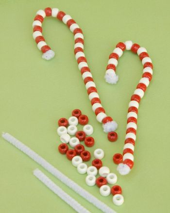 Make Beaded Candy Cane Ornaments Activity