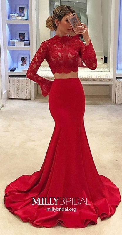 b6fb8e3848 Shop the best Trumpet/Mermaid High Neck Satin Tulle Sweep Train Appliques  Lace Prom Dresses from millybridal.org's ...