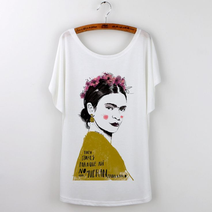 Frida Kahlo Print T-Shirts For Women 2016 Summer Black Tees Plus Size Tops Camisetas Mujer Batwing Sleeve Harajuku Hipster Shirt