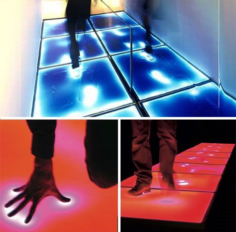 Touch-sensitive floor lighting. Cool spaces, architecture, design installations and places