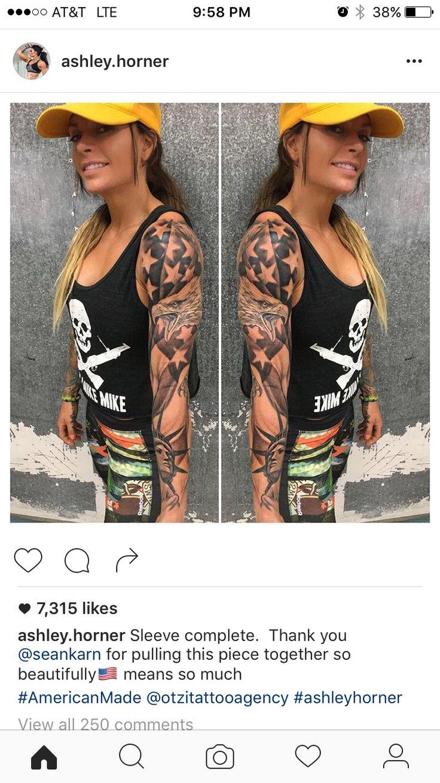 Ashley Horner tattoo sleeve. America!!