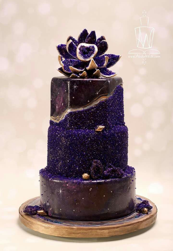 Galaxy Geode Cake In 2019 Geode Cake Wedding Cakes