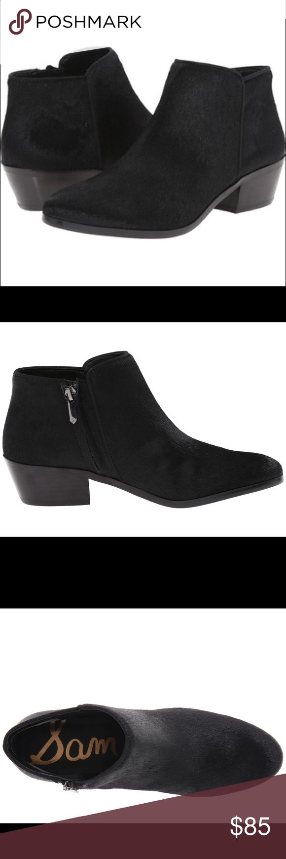 Sam Edelman Petty Ankle Boot in Black Brahma Signature Petty ankle boot is a seasonless staple among starlets and street-style icons alike. Granted 'cult favorite' status for combining comfort, style and versatility, the must-have bootie features a low, stacked heel and ankle zip. These boots are in great condition, worn maybe once or twice, original box included!! Toe: Rounded Toe Heel Height: 1.75 inches Material: Brahma Hair Shaft Length: 3 inches Lining Material: Synthetic Sam Edelman…