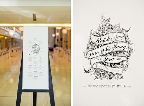 Rob & Amy's Rock'n Roll style hand drawn invites - Canvas Stationery Boutique