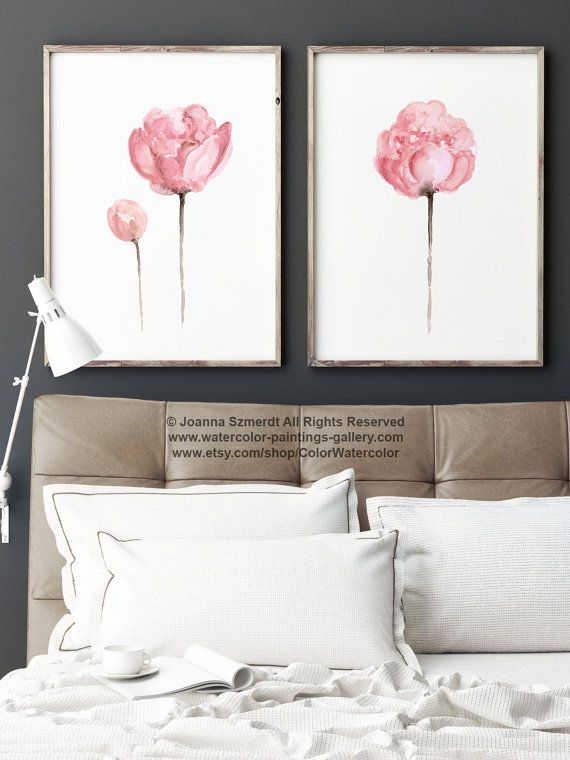 Set of 2 Watercolor Peonies, Shabby Chic Home Decor, Pink Wall Painting, Abstract Flower Peony Art Print