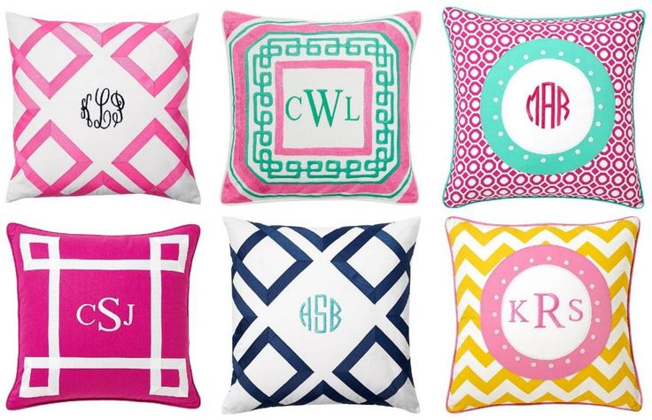 Preppy Decor: 6 Chic Monogrammed Pillows #preppystyle #monograms