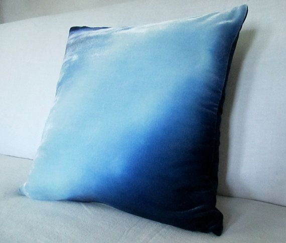 Deep Blue velvet 'moon shadow' handpainted 18 pillow by Fiona Pitkin of Colorbloom. http://www.etsy.com/shop/colorbloom