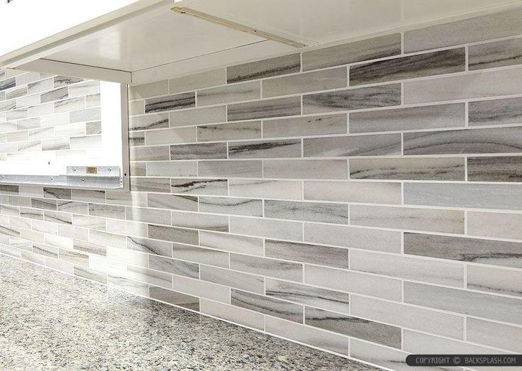 Gray white some brown tones modern subway kitchen backsplash tile from Backsplash.com