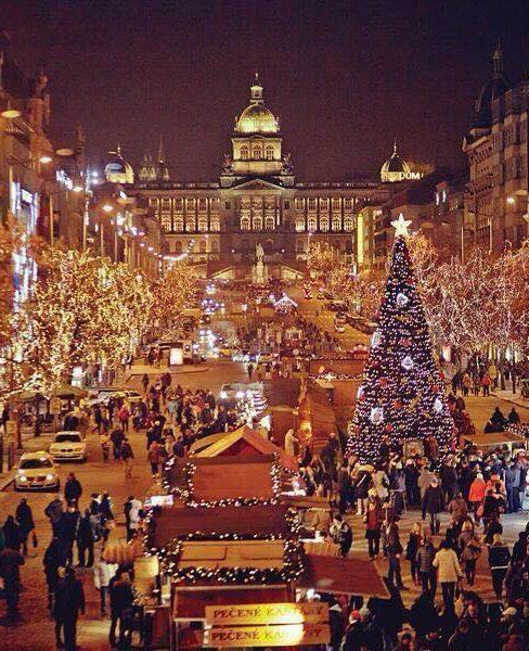 Christmas at Wenceslas Square, Prague, Czechia I love that this is called Wenceslas Square.