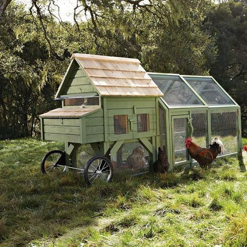 Beautiful Chicken Coop Tractor. (Please share!)  Chicken tractors allow a kind of free ranging along with shelter, allowing chickens fresh forage such as grass, weeds and bugs, which widens their diet and lowers their feed needs. Unlike fixed coops, chicken tractors do not have floors so there is no need to clean them out. They echo a natural, symbiotic cycle of foraging through which the birds eat down vegetation, deposit fertilizing manure, then go on to a new area.