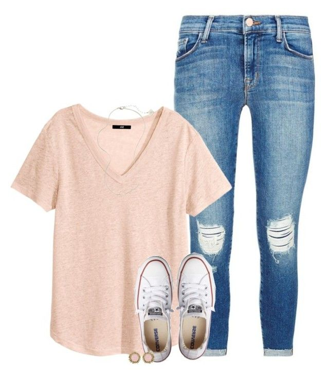 """Day #2: LaSt DaY oF sChOoL!!!!!"" by conleighh ❤ liked on Polyvore featuring J Brand, H&M, Converse, Kendra Scott and schoolsoutmadiandashe"