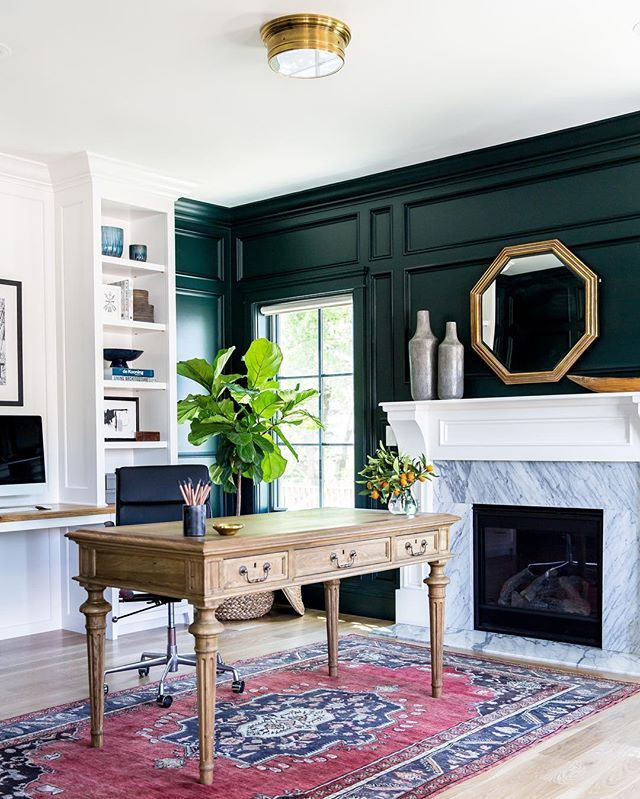 Taking a risk with those green-black walls {Salamander by @benjaminmoore} paid off big time! You can see the #claybourneproject office tour on the blog today.