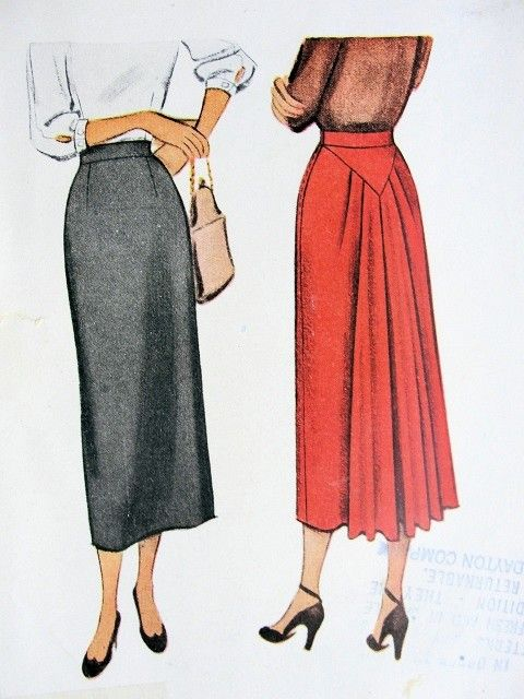 1940s STRIKING Skirt Pattern McCALL 7464 Slim Front, Gathered Flowing Back  Waist 26 Vintage Sewing Pattern