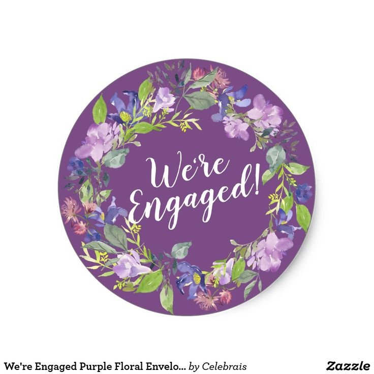 wedding stickers for invitations%0A We u    re Engaged Purple Floral Envelope Seals