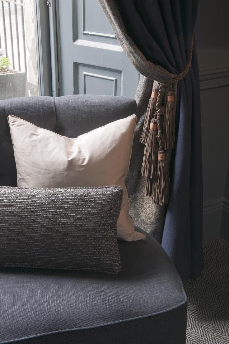 The Roxburghe Hotel, Edinburgh, Georgian Building, Blue interior, Stylish Interior, Occa Design, Interior Design, Hotel Design, chair, cushion, window dressings