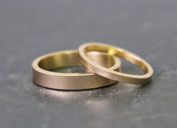 awesome Gold Wedding Ring Set - 14k Gold - His and Hers - Eco Friendly Recycled Gold - M...