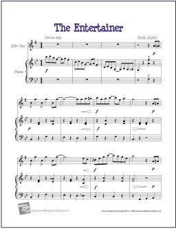 The Entertainer by Scott Joplin | Free Sheet for Alto Saxophone -  http://www.makingmusicfun.net/htm/f_printit_free_printable_sheet_music/the-entertainer-alto-sax.htm
