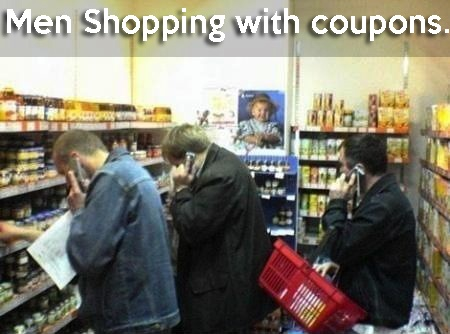 Men Shopping with Coupons. . . LOL!