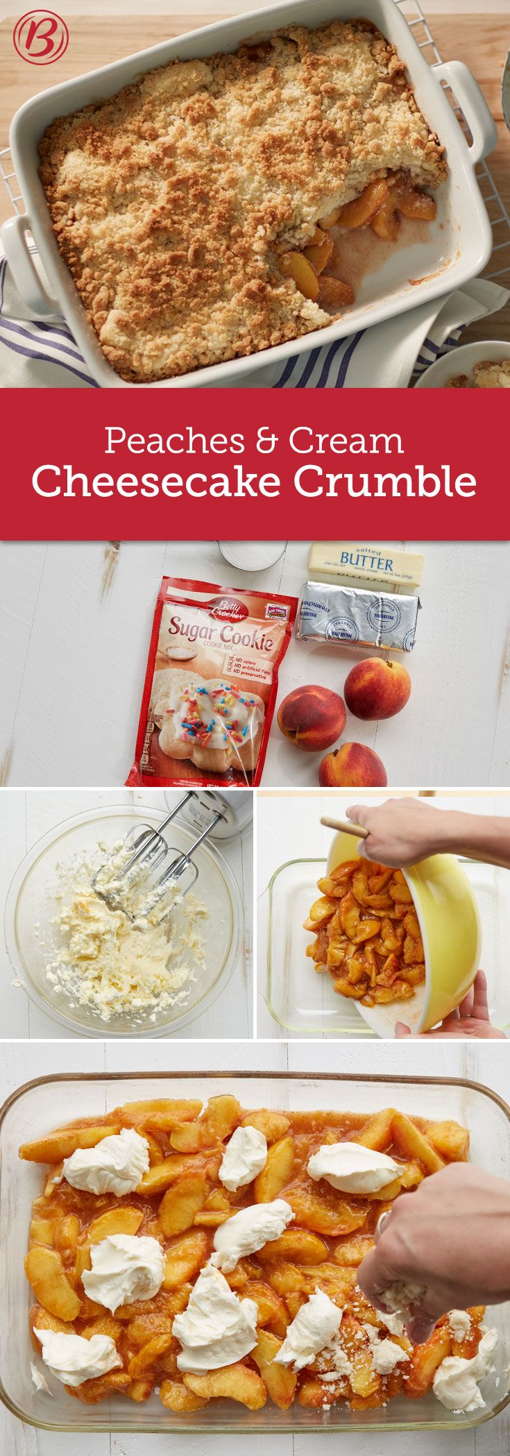 Fresh peaches (you can use frozen, too!), lightly sweetened cream cheese and…