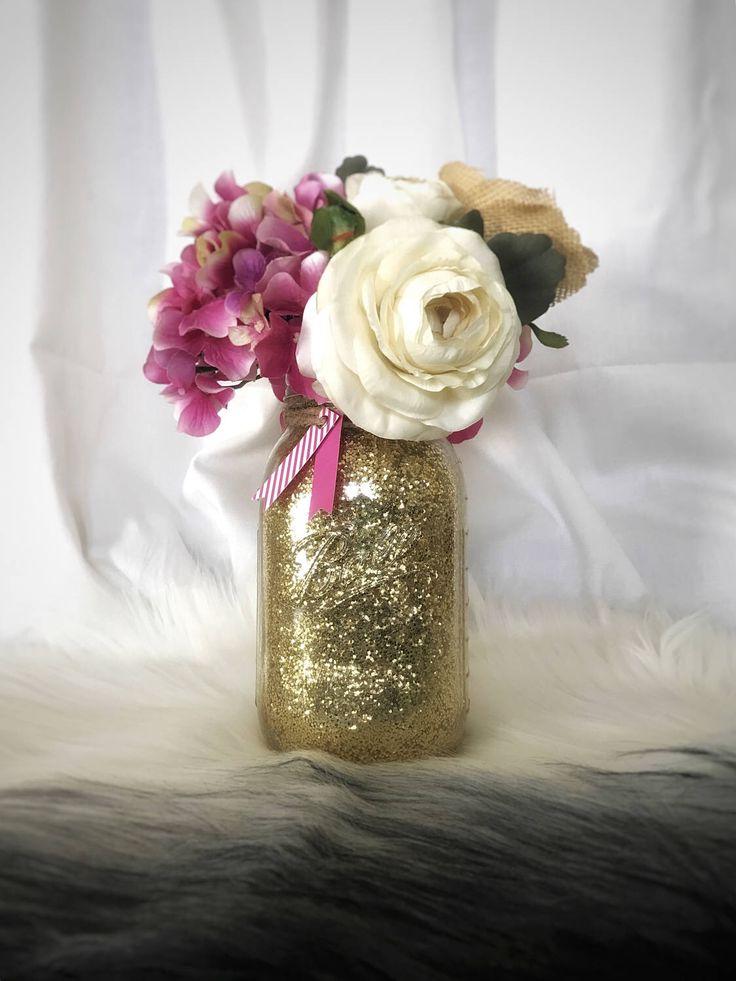 Glitter Mason Jar, Gold Wedding Centerpiece, Pink Wedding Centerpiece, Gold Vase, Glitter Centerpiece, Glitter Wedding Decor, Baby Shower by MintedCountryShop on Etsy https://www.etsy.com/listing/523421849/glitter-mason-jar-gold-wedding