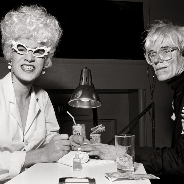Bernard-Zette as Doris Farnsworth and Andy Warhol. -Wmag