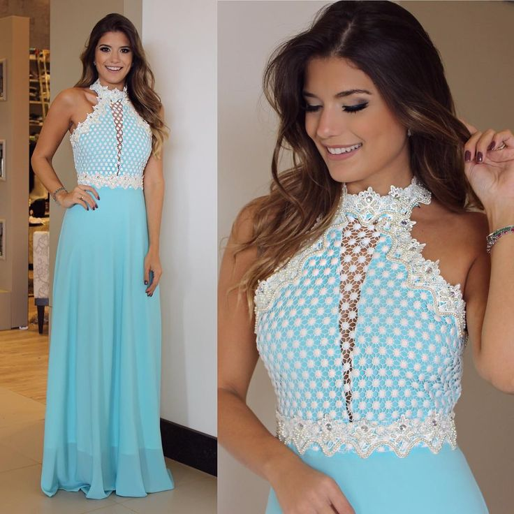 {Party by @lerizzoficial} Vestido turquesa com renda bordada de perolas!