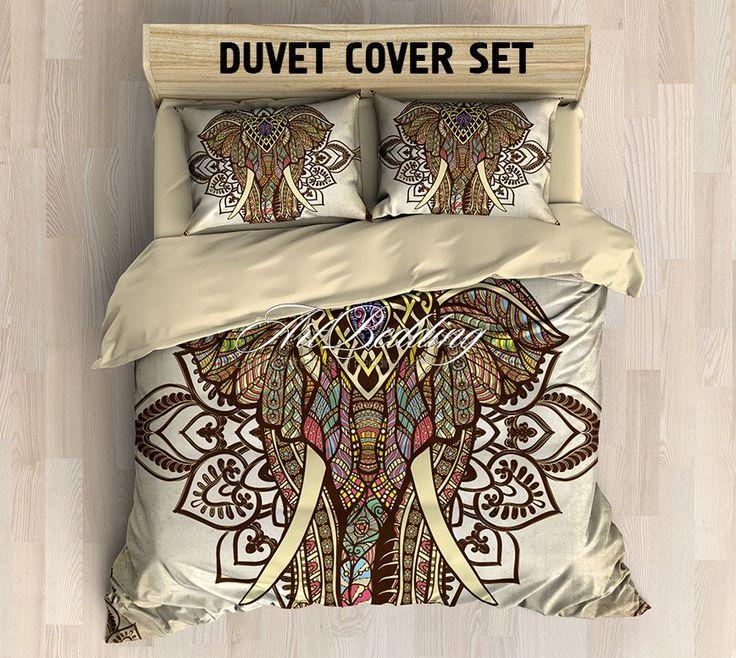 Elephant bedding, Bohemian duvet cover set, Elephant mandala vintage bedding set, Boho Indie bedroom