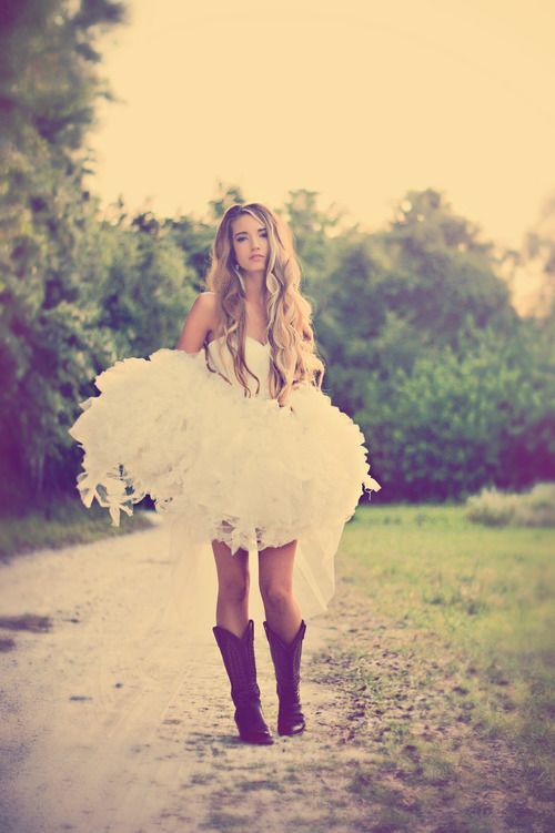 43 best images about rehearsal dinner ideas on pinterest for Short wedding dress with cowboy boots