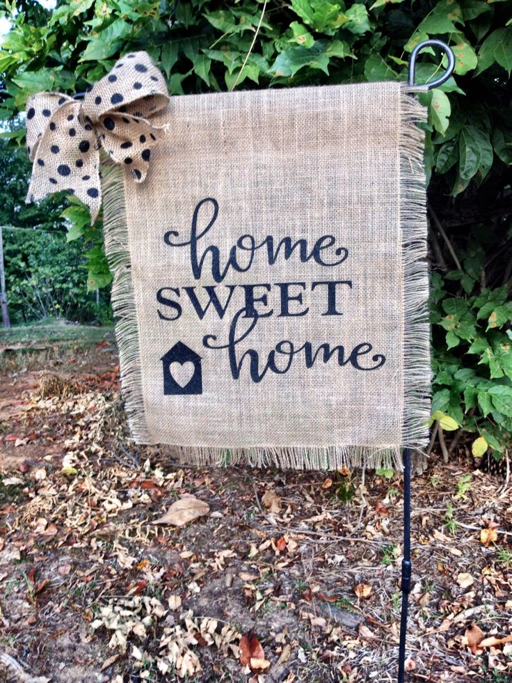 Home Sweet Home Garden Flag- Spring Garden Flag- Burlap Wedding Flag- Fringe Burlap Garden Flag-Fall Garden Flag- Welcome Flags by TallahatchieDesigns on Etsy https://www.etsy.com/listing/467934580/home-sweet-home-garden-flag-spring