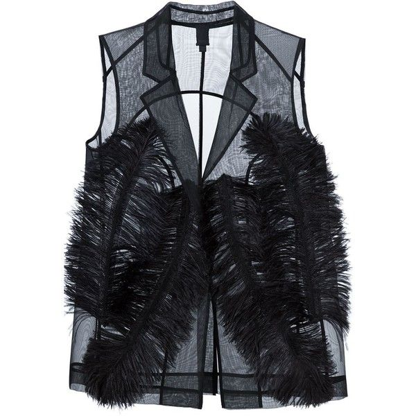 Vera Wang ostrich feather sheer waistcoat ($695) ❤ liked on Polyvore featuring outerwear, vests, vera wang, black, waistcoat vest, ostrich feather vest, vera wang vest and sleeveless vest