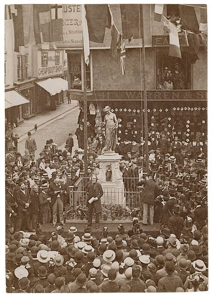 1891.Henry Irving unveiling the Marlowe Memorial in Buttermarket, Canterbury, England, on 16 Sept.1891 (some sources say 16 December 1891)Folger Shakespeare Library.